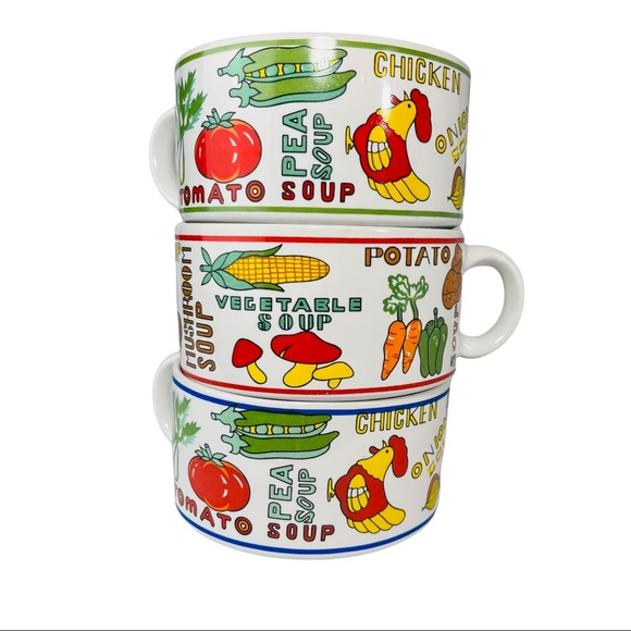 Vintage 70s 3- Large Vegetable Soup Mugs w/Handle